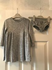 GAP baby girls age 2 Long Sleeve jersey dress Grey Soft & over nappy Knickers