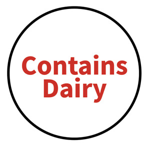 """""""Contains Dairy"""" Food Allergy Labels - Red - 19mm (117 per sheet)"""