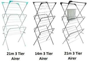 3 Tier Winged Airer Clothes Laundry Washing Folding Drying Rack Indoor Outdoor