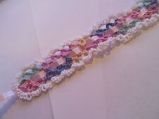 2 Tatted Pastel & White Lace Ribbon Bookmarks  Gift Dove Country Tatting