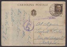 STORIA POSTALE OCC. Montenegro 1942 Intero 30c da PM a Bologna (NT3)
