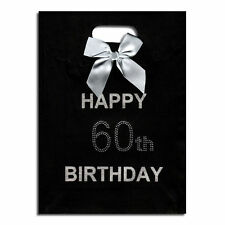 60th Big Birthday Happy Birthday Black Gift Bag with Diamantes NEW