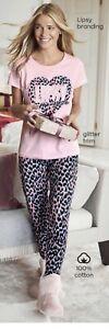 Lipsy Heart Leopard Ladies Pjs Size 20-22