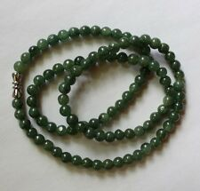 "100% Natural Grade ""A"" Untreated Oily Green Jadeite JADE Bead Necklace 20"" #N048"