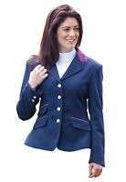 Shires Ladies Kingston Show Polyester Jacket Four Button Front Navy 34
