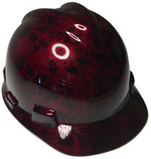 New listing Hard Hat Msa V-Gard Cap Style Brandywine Red Filigree Skulls High Gloss