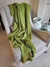 Vtg Wool Blanket OLIVE GREEN Made in England Merino Marlborough Wool Witnedown