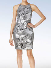 CALVIN KLEIN Women's Embroidered Sequined Cocktail Dress - Silver - Size 12