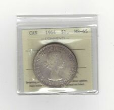 **1964** ICCS Graded Canadian,Silver Dollar**MS-65**