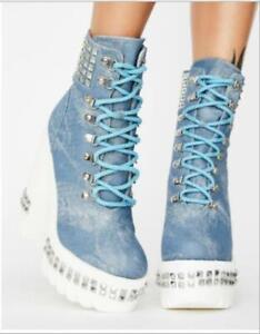 Women's Fashion Denim Studs Lace Up Platform Block Heel Ankle Boots Shoes BYW2