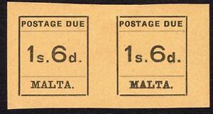 MALTA-1925 1/5 Black/Buff Postage Due Pair Sg D10 MOUNTED MINT V49932