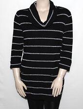 INC International Concepts 3X Silver Metallic Striped Cowl-Neck Tunic Sweater