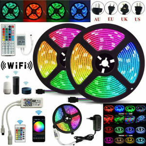 5m 10m 20m 5050 SMD RGB RGBW LED Strip Light for Alexa Google WIFI tape lamp set