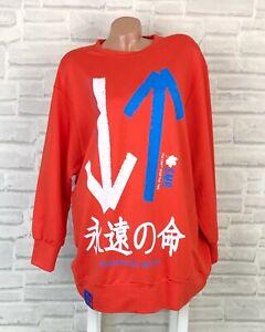 Oversize Pullover Pulli Shirt Sweatshirt Tunika 38 40 42 44 46 Orange P817