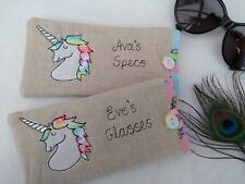 Personalised Unicorn Glasses Sunglasses Case Name Choice gift pink blue lining