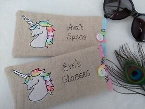 Personalised Unicorn Glasses Sunglasses Case Name Choice gift pink blue lining