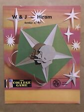 W&J HIRAM COLLEGE FOOTBALL PROGRAM - 1973 - EX