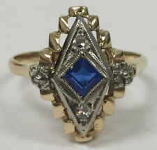Vintage/Antique Art DECO 14K Gold, Sapphire & Diamond Ring, Size 6.75