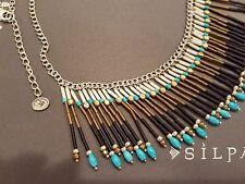"Silpada Sterling Silver Brass Howlite ""Free Spirit Fringe Necklace"" N3343 EUC!"