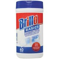 2 pack Brillo Basics Glass Cleaner Wipes 40 Count for mirrors and glass
