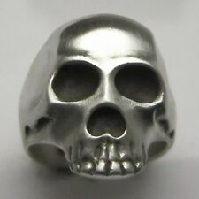 MJG STERLING SILVER  SKULL RING- 27 GRAMS.HARLEY. BIKER. GUITAR PLAYER