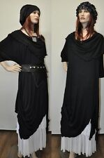Designer Lagenlook Tunic Dress with Pointed Tails Long Black One Size XL XXL