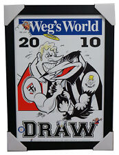 2010 AFL GRAND FINAL DRAW PRINT ST KILDA V COLLINGWOOD FRAMED WEGS WORLD RARE