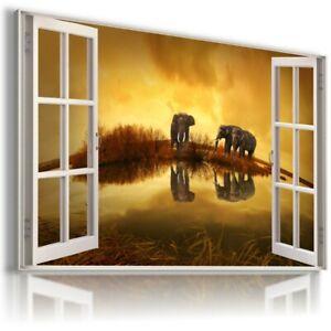 AFRICA ELEPHANTS SUNSET 3D Window Canvas Wall Art Picture W364 UNFRAMED-ROLLED