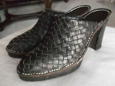 """Donald J Pliner Sport """"Busy"""" Women's Brown Leather Mules Heels 7.5M Italy"""