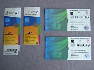 2004 ATHENS, 2008 BEIJING 4 OLYMPIC TICKETS > 4 GOLD MEDALS of Kitajima JAPAN