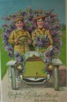 """""""Geburtstag, Kinder, Auto, Blumen""""  1909, Golddruck ♥"""