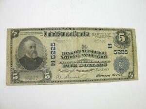 1902 US $5 National Bank Note Bank Pittsburgh National Association Charter #5225