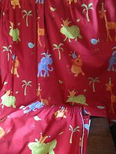 Children' Curtains  Black Out Linings Kids HIP HIP HOORAY Red Jungle Animals