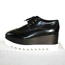 STELLA McCARTNEY wood platform black Elyse Hackney oxford brogue shoes 41 NEW