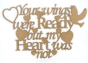 Lasercut MDF ' Your wings were ready but my heart was not' Wooden, 300mm, blank