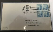 #734 Boston, Mass, Block Of 4, First Day Cover