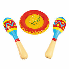 MEXICAN FIESTA INFLATABLE SOMBRERO AND MARACAS NEW PARTY COSTUME DECORATIONS