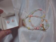 """vintage Pearly pastel pink white pearl stud earrings + 14"""" necklace Avon 1991"""