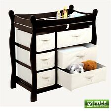 Baby Dresser Changing Table Drawer Nursery Furniture Espresso Wood Changer New!