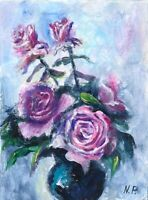 ACEO Pink roses flowers vase abstract original painting art card signed