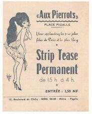 Striptease bar Flyer from Paris, France, Vintage in four langauges
