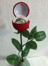 Red Velvet Rose Jewelry Box W/ Wood Ring in Tungsten 6-13 Christmas Gift New