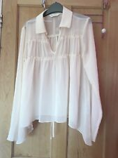 Women's Miss Selfridge cream sheer shirt size 6