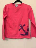 Marushka Handprints Womens MEDIUM Shirt Tee 3/4 Sleeve Anchor Pink Top T3