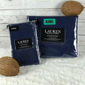 RALPH LAUREN 'Dunham' Sateen KING Sheet Set - Cadet Blue + 2 Extra Pillowcases