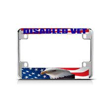 DISABLED VET WHITE FLAG Chrome Metal Bike Motorcycle License Plate Frame Tag