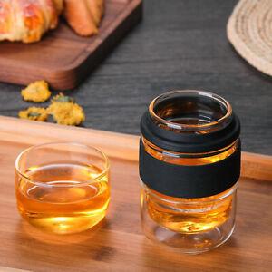 Travel Tea Set Glass Portable Teapot Teacup Set for Home Office Gifts Black