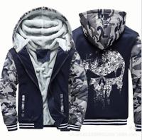 Punisher Hoodie Fleece zip up Coat winter Jacket warm Sweatshirt Camouflage Cos