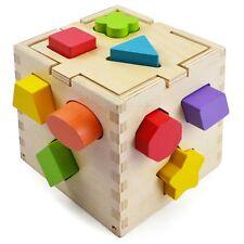Kids Wooden Colour Blocks Shape Sorter Puzzle Cube Box Preschool Toddler Sorting