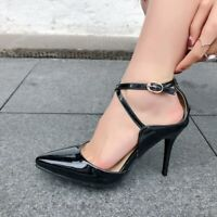 Women's Ankle Strap High Heels Pointed Toe Patent Leather Pumps Sandals Shoes